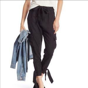 Joie Womens Erlette Linen Cargo Pants in Caviar